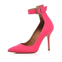 PINK ANKLE STRAP POINTED PUMPS