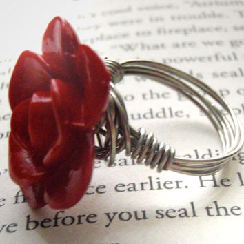 Rose Button Wire Wrapped Ring