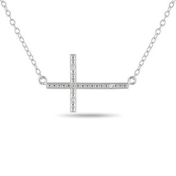 Diamond Accent Sideways Cross Pendant in Sterling Silver - Save on Select Styles - Zales