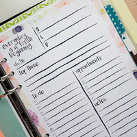 Everyday Is A Fresh Beginning A5 Daily Planner Insert