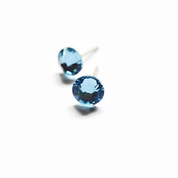 Aquamarine Swarovski Surgical Steel Stud Earrings- Blue Studs-Swarovski Studs- 6.5mm Studs