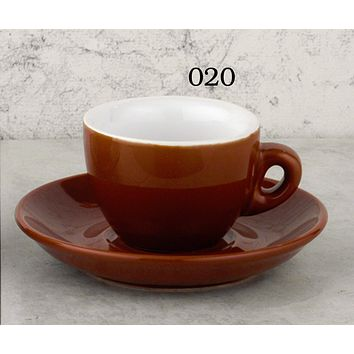 Brown Espresso and Cappuccino Demitasse Café Cups Set of 6
