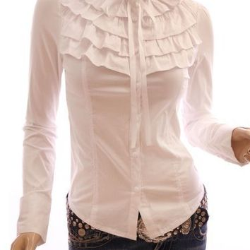 My Associates Store - Patty Women Ruffle Flounce Stand Collar Long Sleeved Blouse Tops