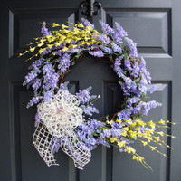 """Spring Wreaths, 20"""" Spring Lavender with Forsythia Door Wreaths, Spring Wreaths, Door Wreath, Wreaths, Easter Wreaths, Home Decorating Ideas"""