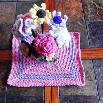 "Table Topper, Center Piece, for Easter or Spring decor, Pink and Purple, 14"" by 11"", Made with Cotton Yarn,"