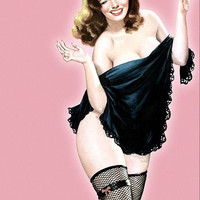 Pin Up Girl Brown Hair Beauty With Shawl Poster