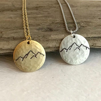 Hammered Mountain Pendant Necklace, silver or gold, hand stamped necklace, rustic pewter charm, unisex jewelry, nature jewelry, hiking gift