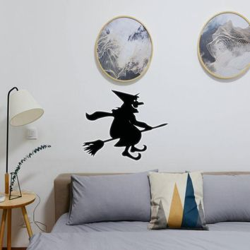 Halloween Witch Riding Broom 02 Vinyl Wall Decal - Removable (Indoor)