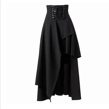 Gothic Pure Color High Waist Irregular Straps Long Skirt