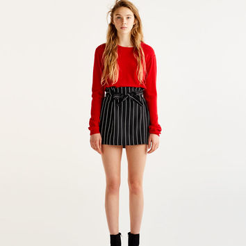 Tailored skirt with tied belt - Skirts - Clothing - Woman - PULL&BEAR United Kingdom