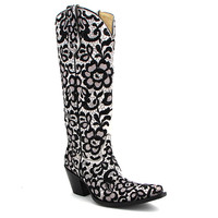 Corral Tall Floral Lace Black and White Boot