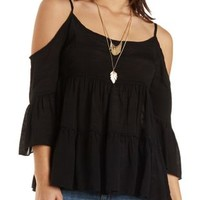 Tiered Cold Shoulder Peasant Top by Charlotte Russe - Black
