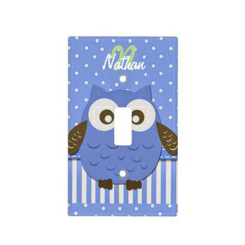 """Cute Blue/Brown/Monogram Owl"" LIGHT SWITCH COVER"