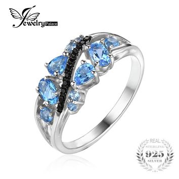 JewelryPalace Fashion 1.2ct Classic Natural Black Spinel Blue Topaz Ring 925 Sterling Silver New Fine Jewelry For Women