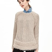 Banana Republic Womens Fringe Hem Cable Knit Sweater Pullover