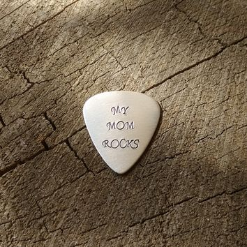 Aluminum guitar pick with My Mom Rocks