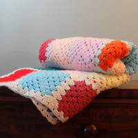 Vintage Granny Square Afghan Handmade Blanket Pastel Bedding Bedroom Decor
