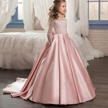 Custom Flower Girl Dress | Floor Length Button Draped Pink Long Sleeves Tulle Ball Gowns