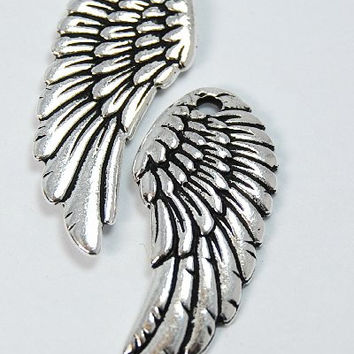 TierraCast Antique Silver (plated) Angel Wing Charm -1