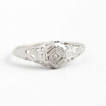 Vintage Diamond Ring - 10k White Gold Filigree 1920s Engagement Fine Jewelry - Size 7 3/4 Dainty Flower 20s Bridal Promise Engraved Martha