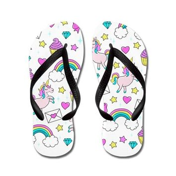 CUTE UNICORN PATTERN FLIP FLOPS