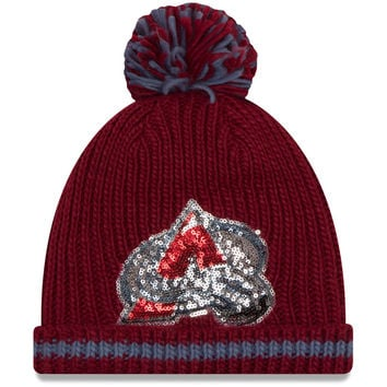 Women's Colorado Avalanche New Era Burgundy Sequin Frost Cuffed Knit Hat with Pom