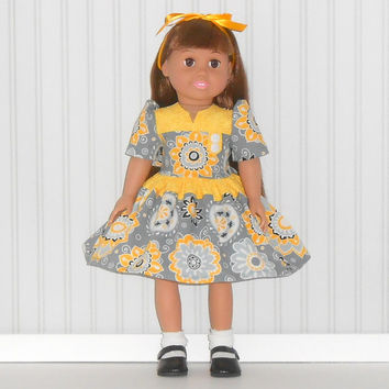 American Girl Doll Clothes Yellow and Gray Flowered Dress 1940s Era Inspired with White Slip fits 18 inch dolls