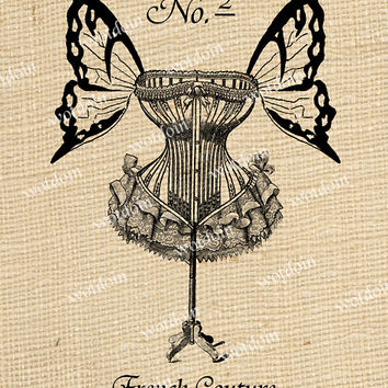 French Couture Corset Butterfly Wings Fancy Script Numbers Image Transfer Digital Download Printable