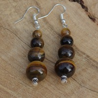 Tiger Eye Earrings ~ Tiger Eye Stone ~ Brown and Gold Stones ~  Dangle Earrings ~ Semi Precious Stones  ~ Boho Jewelry