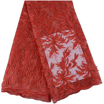 Latest Red French Lace Fabric High Quality 3D Applique Flower Lace Fabric For Bridal Stones Lace Fabric For Wedding Dress 998