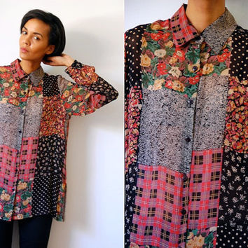 Vtg Sheer Mixed Print Dark Floral Plaid Polka Dots Button Down LS Shirt