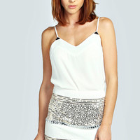 Claudia Heavily Embellished Mini Skirt