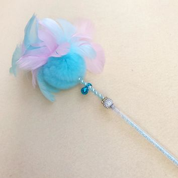 Funny Cat Teaser Toy with Bell Feather Wand Stick Pet Kitten Play Interactive Toys HG99