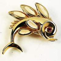 Flying Fish Brooch Rhinestone Eye Enameled Fins Gold Tone Vintage