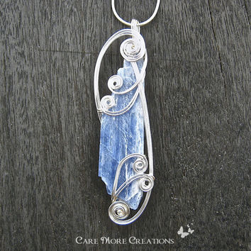 Blue Kyanite Wire Wrapped Pendant Necklace in Silver - Healing Stone