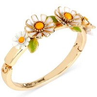 Betsey Johnson Gold-Tone Daisy Hinged Bangle Bracelet | macys.com
