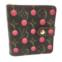 AUTHENTIC LOUIS VUITTON Monogram Cherry Murakami Takashi Compact Zip M95005