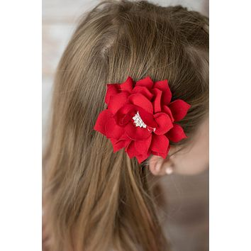Red Poinsettia flower hair clip