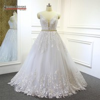 New fashion lace wedding dress with detachable train