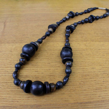Black beaded necklace wooden horn beads ethnic jewelry tribal