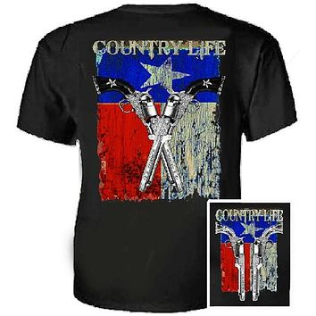 Country Life Outfitters Texas  Flag Guns Vintage Unisex Black Bright T Shirt