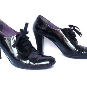 BALLY French Vintage Black Leather High Heels Lace Up Oxford 9.5US  40French