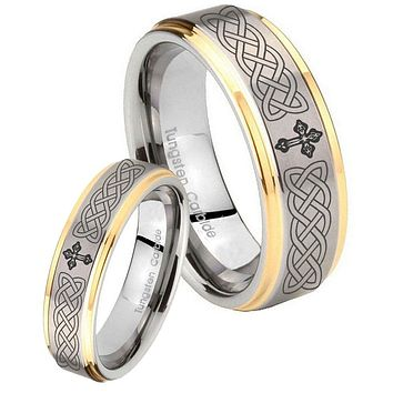 His Hers Celtic Cross Step Edges Gold 2 Tone Tungsten Wedding Bands Ring Set