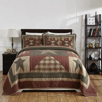 PLYMOUTH 3pc King or Queen Quilt Set Star Plaid Check Patchwork Primitive Farmhouse