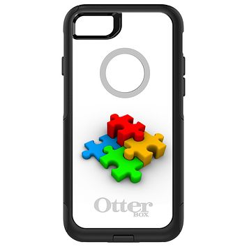 DistinctInk™ OtterBox Commuter Series Case for Apple iPhone or Samsung Galaxy - Red Blue Yellow 3D Puzzle Pieces