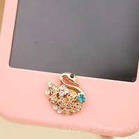 1PC Bling Crystal Nice Swan Apple iPhone Home Button Sticker for iPhone 4,4s,4g, iPhone 5, iPad, Cell Phone Charm