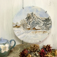 Vintage handpainted Wintersnow scene plate distressed country cottage wall decor painted glass