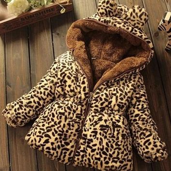 2018 Europe And The United States Trend Children's Clothing New Baby Girls Winter Thickening Plus Velvet Leopard Cotton Jacket