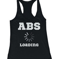 Women's Cute Tanks - Abs Loading Black Cotton Sleeveless Tank Top