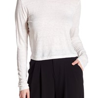 alice + olivia | Delaina Long Sleeve Crop Tee | HauteLook